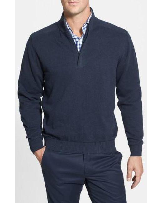 Cutter & Buck   Blue 'broadview' Half Zip Sweater for Men   Lyst