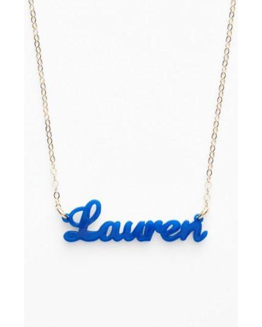 Moon & Lola | Metallic 'script Font' Personalized Nameplate Pendant Necklace | Lyst