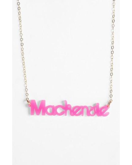 Moon & Lola | Metallic 'zebra Block Font' Personalized Nameplate Pendant Necklace | Lyst