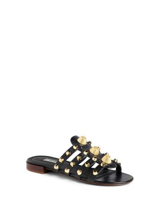 Balenciaga - Black Arena Studded Slip-on Sandal - Lyst