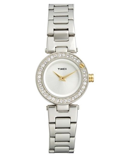 Timex | Metallic Timex 'starlight' Crystal Bezel Bracelet Watch | Lyst