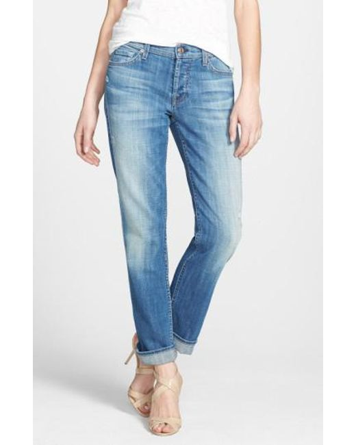 7 For All Mankind | Blue 7 For All Mankind 'josefina' Boyfriend Jeans | Lyst