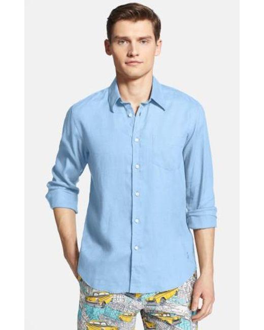 Vilebrequin | Blue 'caroubier' Linen Shirt for Men | Lyst