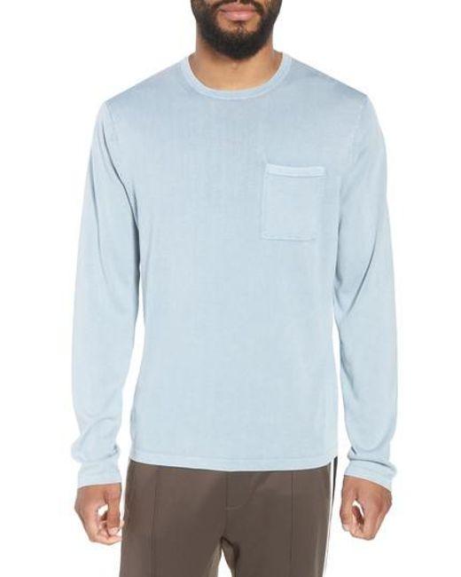 Vince - Blue Crewneck Cotton Sweater for Men - Lyst
