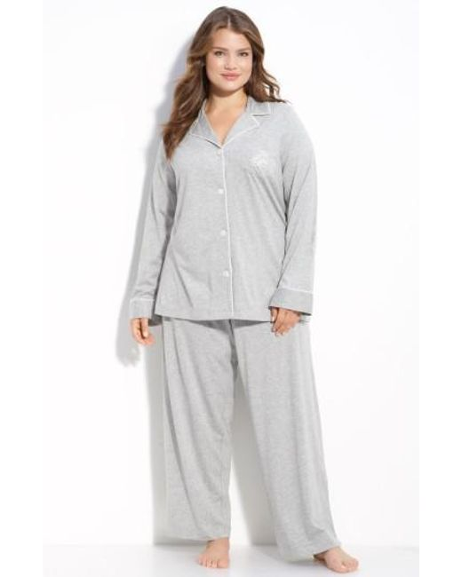 Lauren by Ralph Lauren | Gray Knit Pajamas | Lyst