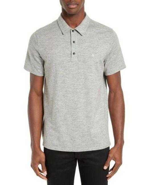 Rag & Bone | Gray Standard Issue Regular Fit Slub Cotton Polo for Men | Lyst