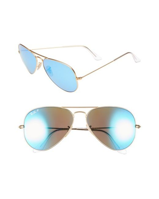 Ray-Ban | Blue 58mm Aviator Polarized Sunglasses | Lyst