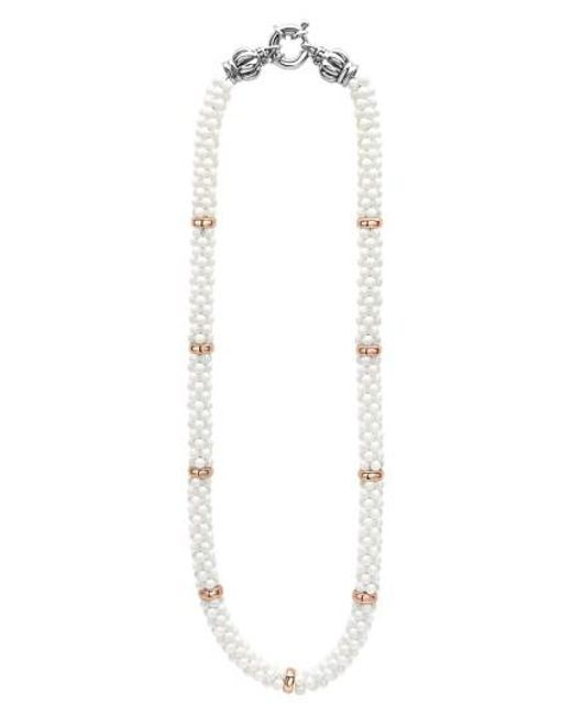 Lagos - Metallic 'white Caviar' 7mm Beaded Station Necklace - Lyst