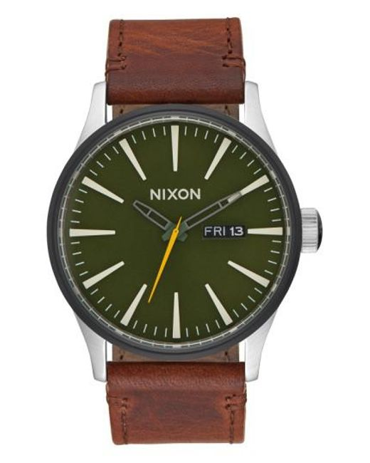 Nixon | Green 'the Sentry' Leather Strap Watch for Men | Lyst