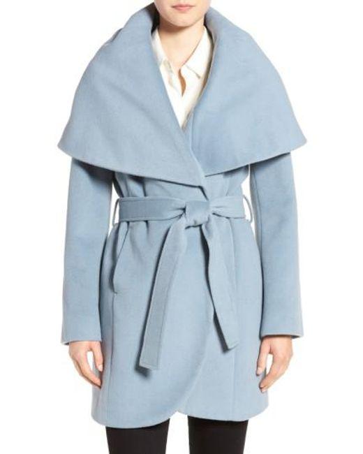 Tahari   Blue Wool-Blend Belted Wrap Coat   Lyst