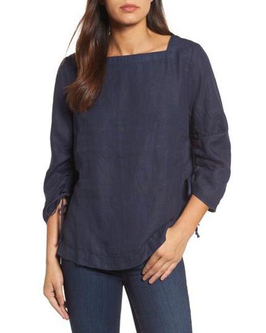 Caslon - Blue Caslon Ruched Sleeve Linen Pullover - Lyst