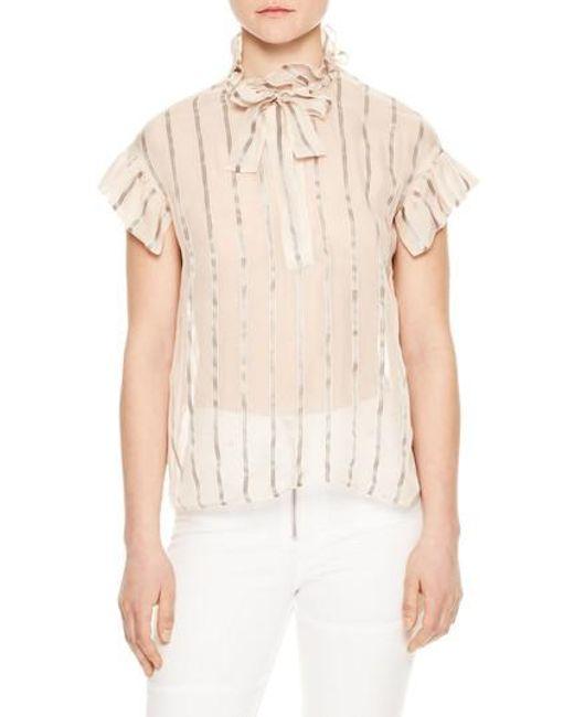 Sandro - Natural Metallic Stripe Bow Silk Blend Blouse - Lyst