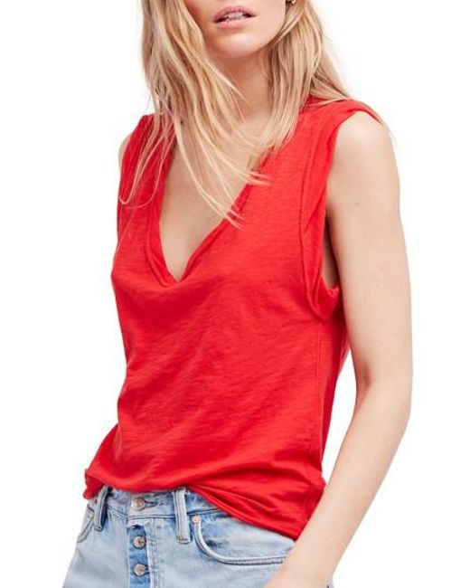 Free People - Red Cleo Tee - Lyst
