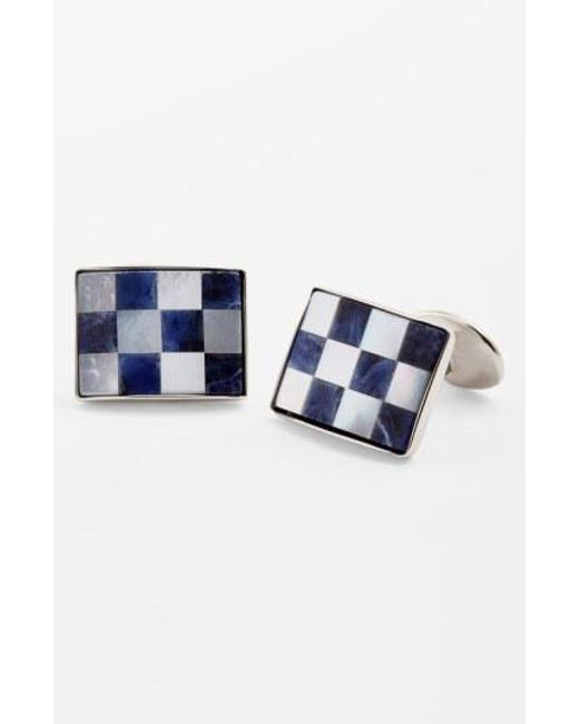 David Donahue - Blue Checkerboard Cuff Links for Men - Lyst