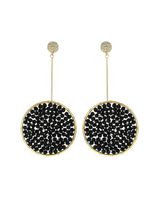 Panacea - Black Beaded Drop Earrings - Lyst
