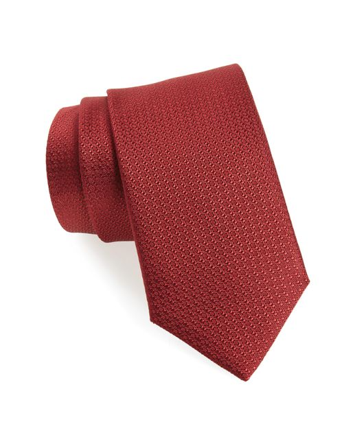 Canali - Red Solid Silk Tie for Men - Lyst