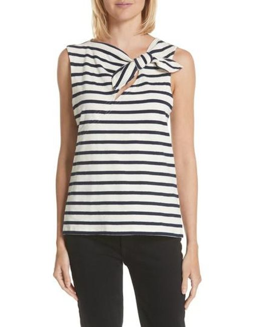 10 Crosby Derek Lam - Blue Tie Back Stripe Top - Lyst