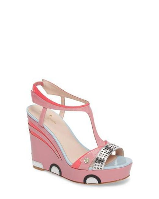 Kate Spade - Pink Deanna Wedge T-strap Sandal - Lyst
