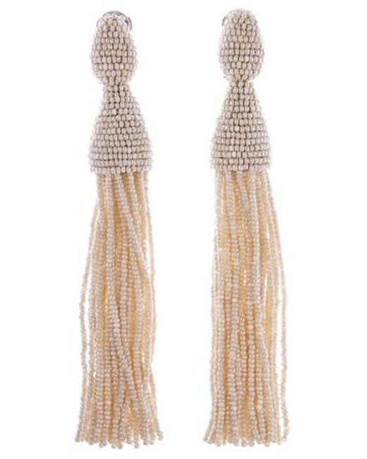 Oscar de la Renta - Brown Long Tassel Drop Earrings - Lyst