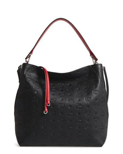 MCM - Black Klara Monogrammed Leather Hobo Shoulder Bag - Lyst