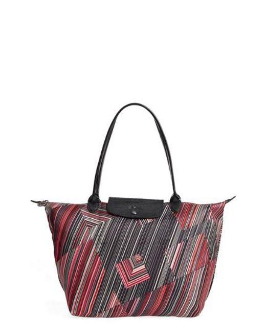 Longchamp | Red Large Op Art Shoulder Tote | Lyst