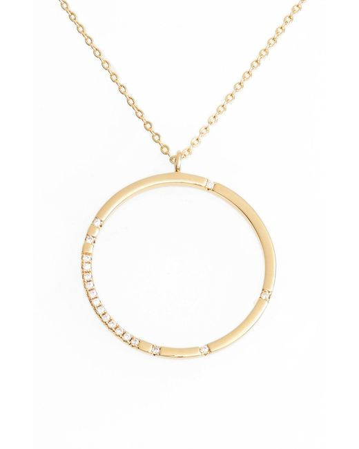 Nordstrom - Metallic Scatter Pave Open Circle Pendant Necklace - Lyst
