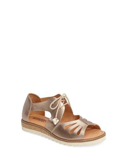 Pikolinos Alcudia Lace-Up Leather Sandal KZnmuC