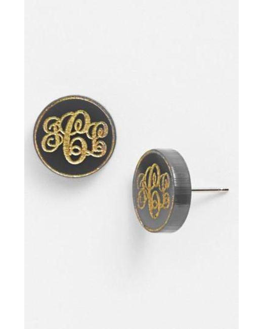 Moon & Lola   Metallic 'chelsea' Small Personalized Monogram Stud Earrings (nordstrom Exclusive)   Lyst