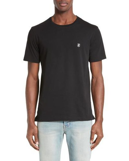 The Kooples | Black Embroidered T-shirt for Men | Lyst