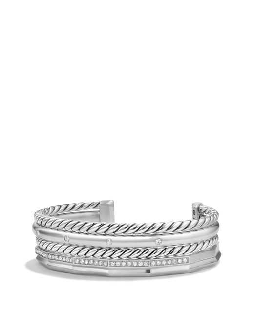 David Yurman - Metallic Stax Narrow Cuff Bracelet With Diamonds - Lyst