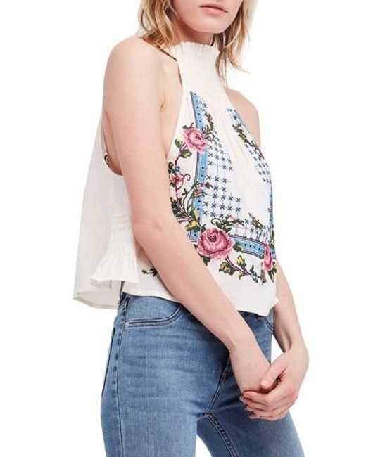 Free People - White Honey Pie Embroidered Tank - Lyst