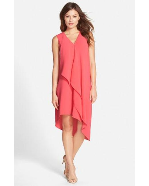 Adrianna Papell   Pink Ruffle Front Crepe High/low Dress   Lyst