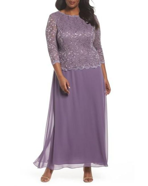 Alex Evenings - Purple Mock Two-piece Long Dress - Lyst