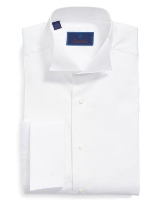 David Donahue - White Regular Fit Bib Front French Cuff Tuxedo Shirt for Men - Lyst
