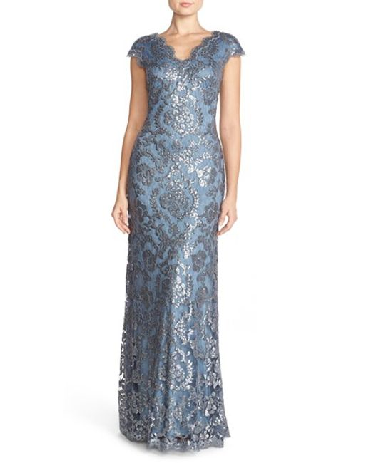 Tadashi Shoji | Blue Sequin-Embroidered Lace Gown  | Lyst