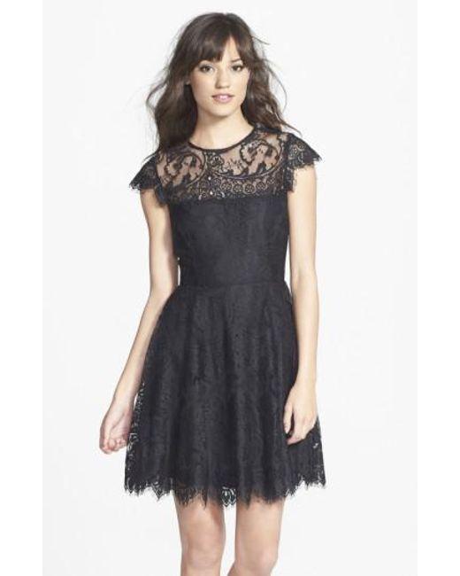 BB Dakota | Black 'rhianna' Illusion Yoke Lace Fit & Flare Dress | Lyst