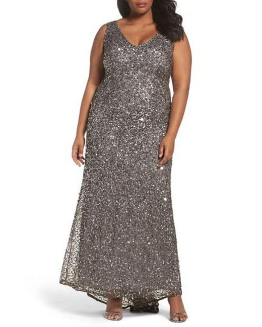 Adrianna Papell | Multicolor Sequin A-line Gown | Lyst