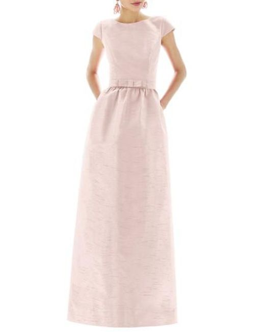 Alfred Sung | White Cap-Sleeved Dupioni Full-Length Dress | Lyst