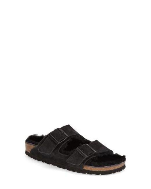 Birkenstock   Black 'arizona' Genuine Shearling Lined Sandal   Lyst