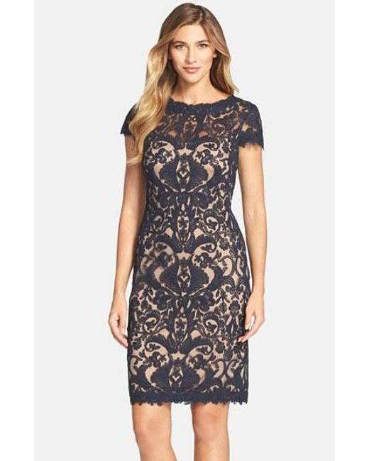 Tadashi Shoji | Blue Illusion Yoke Lace Sheath Dress | Lyst