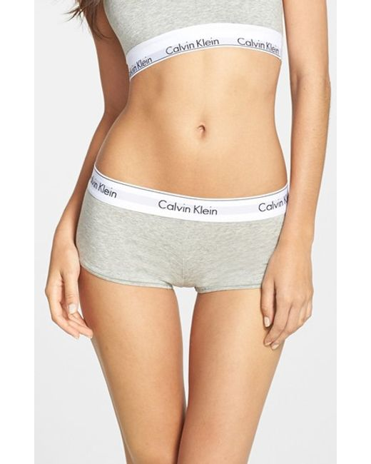 Calvin Klein | Gray 'modern Cotton Collection' Pima Cotton Blend Boyshorts | Lyst