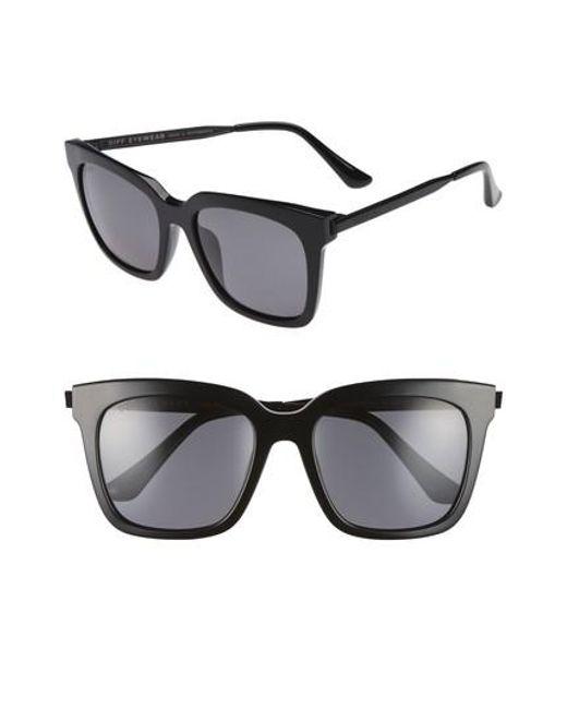 DIFF | Black Bella 53mm Polarized Sunglasses | Lyst