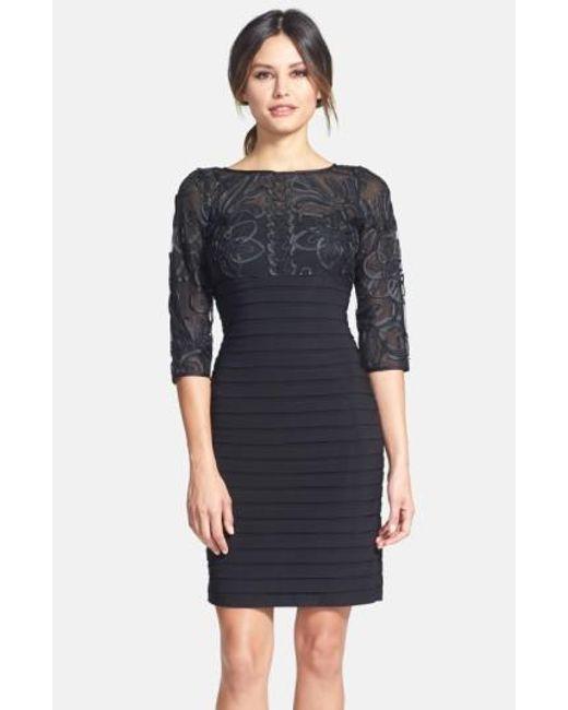 Adrianna Papell | Black Soutache Shutter Pleat Sheath Dress | Lyst