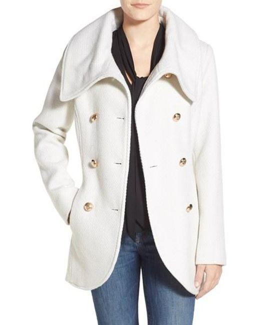 Jessica Simpson | White Double Breasted Basket Weave Coat | Lyst