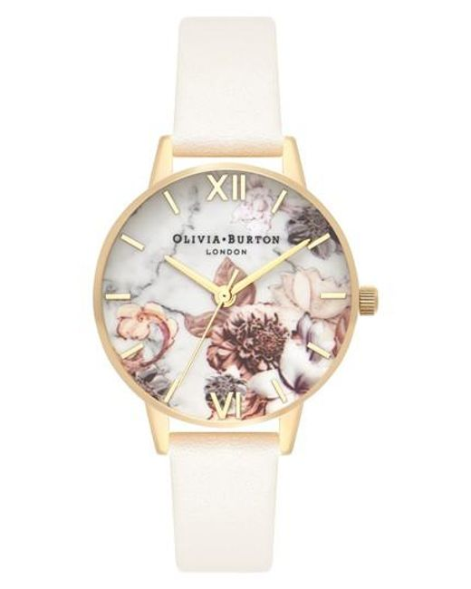 Olivia Burton - Metallic Marble Floral Leather Strap Watch - Lyst