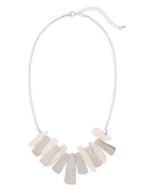 Panacea - White Pyrite Stone Necklace - Lyst