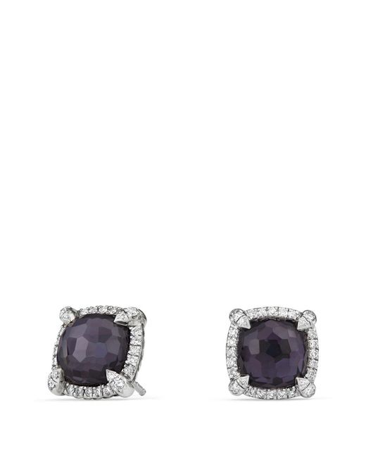 David Yurman - Chatelaine Pavé Bezel Earring With Black Orchid And Diamonds - Lyst