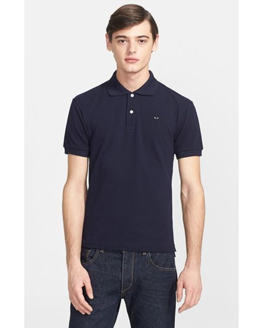 Comme des Garçons | Blue Play Pique Polo With Small Heart Applique for Men | Lyst