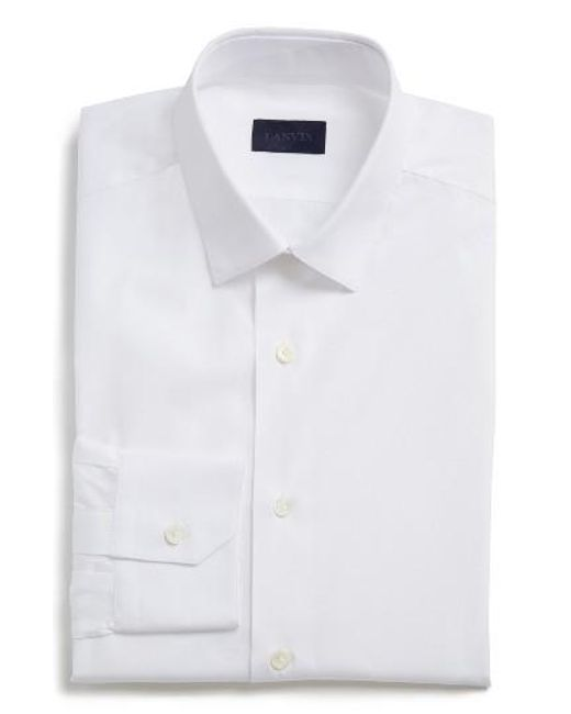 Lanvin extra trim fit cotton dress shirt in white for men for Extra slim dress shirt
