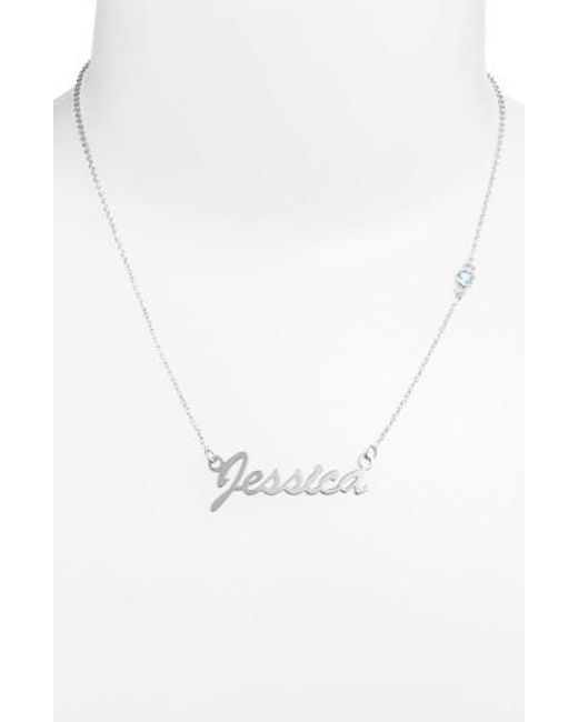 Argento Vivo | Blue Birthstone & Personalized Nameplate Pendant Necklace (nordstrom Online Exclusive) | Lyst